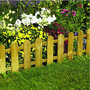 Wickes Timber Picket Fence Style Border Edging - 280 x 1100 mm