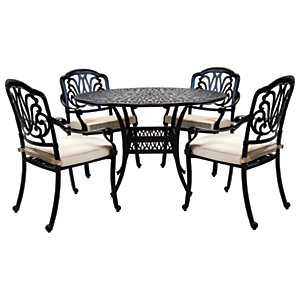 Charles Bentley 4 Seater Round Cast Aluminium Dining Set - Black