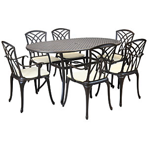 Charles Bentley 6 Seater Oval Cast Aluminium Dining Set - Black With Bronze Finish