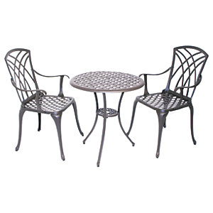 Charles Bentley Cast Aluminium Bistro Set- Black With Bronze Finish