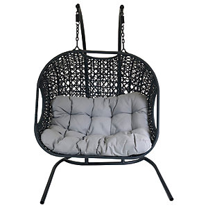 Charles Bentley Double Rattan Swing Chair - Black