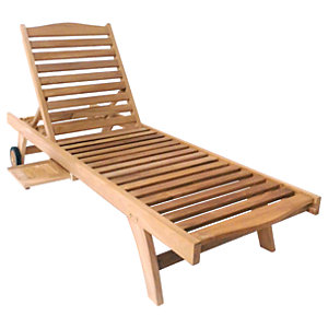 Charles Bentley Premium Teak Wooden Sun Lounger