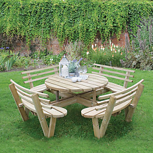 Forest Garden Circular Picnic Table With Seat Backs Wickes Co Uk