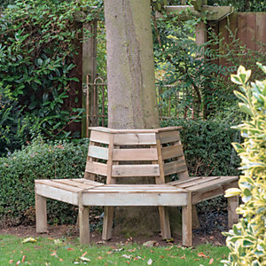 Forest Garden Semi Circular Timber Tree Seat