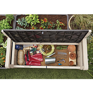 Keter Eden Plastic Garden Storage Bench Beige & Brown - 2 x 5 ft