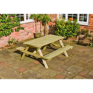 Rowlinson Garden Wooden Picnic Table - 1.5 x 1.5m