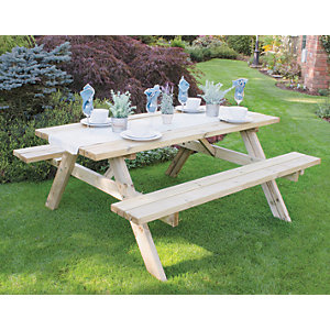 Forest Garden Rectangular Picnic Bench & Table - Large