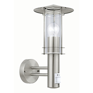 Eglo Lisio Outdoor Stainless Steel PIR Sensor Lantern Wall Light - 60W E27