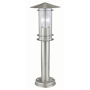Eglo Lisio Outdoor Stainless Steel Single Floor Lamp Post Light - 60W E27