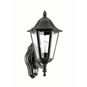 Eglo Navedo Outdoor Black & Silver LED Up Lantern PIR Sensor Wall Light - 60W E27
