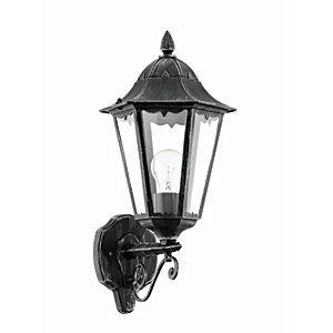 Eglo Navedo Outdoor Black & Silver LED Up Lantern Wall Light - 60W E27