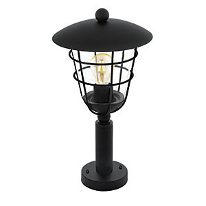 Eglo Pulfero Black Outdoor Traditional Lantern Pedestal Post Light - 60W E27