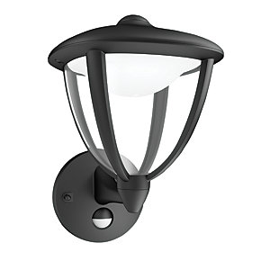 Philips Robin Black Wall Lantern with PIR - 4.5W