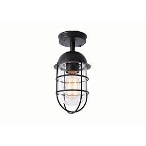 Zinc Kari Caged Black Porch Light - 42W