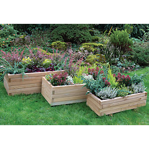 Forest Garden Durham Rectangular Planter Set Of 3