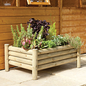 Forest Garden Raised Log Planter - 400mm x 1m