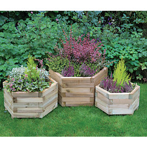 Forest Garden York Hexagonal Planter Set of 3