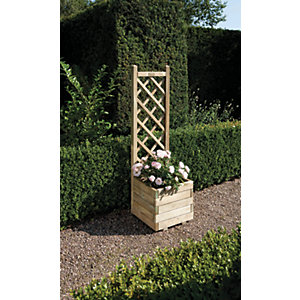 Rowlinson Pressure Treated Square Planter with Lattice - 400mm x 1.4m