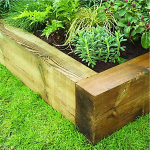 Wickes Jumbo Garden Sleepers - Light Green 125 x 250mm x 1.8m