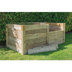 Forest Garden 3 x 3 ft Slot Down Wooden Compost Bin Extension Kit