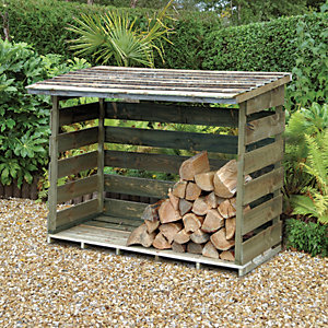 Forest Garden Pressure Treated Timber Log Store - 6 x 3 ft