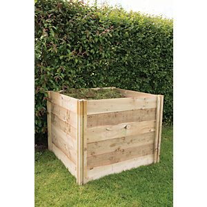Forest Garden Slot Down Wooden Compost Bin - 3 x 3 ft