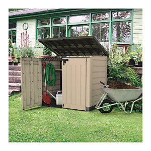 Keter Store It Out Max Plastic Garden & Wheelie Bin Storage Beige & Brown - 4 x 5 ft