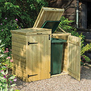 Rowlinson 5 x 3 ft Large Timber Double Wheelie Bin Storage with Lifting Lid