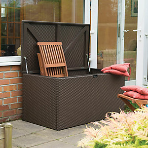 Rowlinson Galvanised Steel Rattan Effect Garden Storage Box Brown - 4 x 2 ft