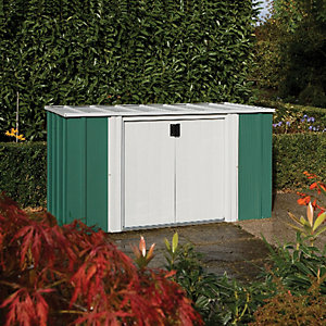 Rowlinson Large Pent Metal Storage Box without Floor Green & White - 6 x 3 ft