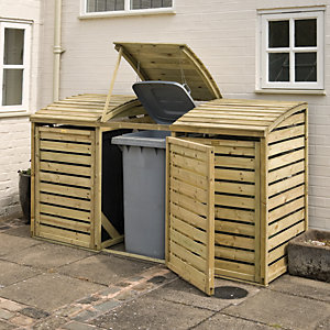 Rowlinson Large Timber Triple Wheelie Bin Storage - 8 x 3 ft