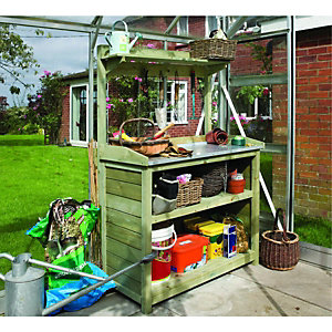 Rowlinson Timber Potting Table with Shelves - 3 x 2 ft