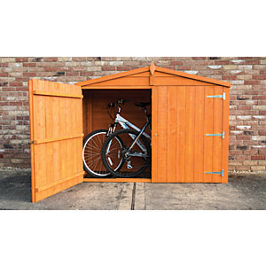 Shire Overlap Timber Bike Store Shed Honey Brown - 7 x 3 ft