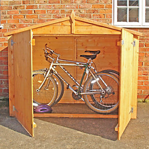 Shire Shiplap Timber Bike Store Shed Without Floor Honey Brown - 7 x 3 ft