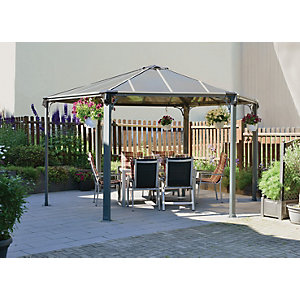 Palram Monaco Hexagonal Polycarbonate Garden Gazebo Grey - 4380 x 4380 mm