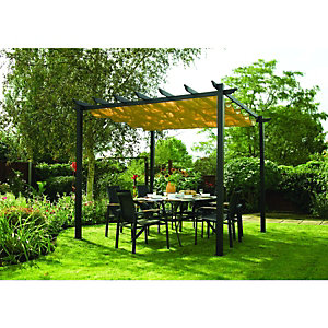 Rowlinson Latina Retractable Polyester Fabric Canopy Grey - 3000 x 3000 mm