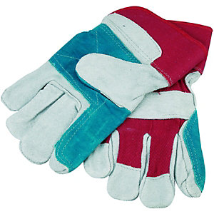 Wickes Superior Grey/Red Leather Rigger Gloves - One Size