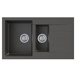 Helio 1.5 Bowl Composite Kitchen Sink - Black