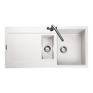 Rangemaster Scoria 1.5 Bowl Granite White Sink