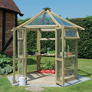 Forest Garden Pressure Treated Wooden Frame Glass House - 8 x 9 ft with Installation