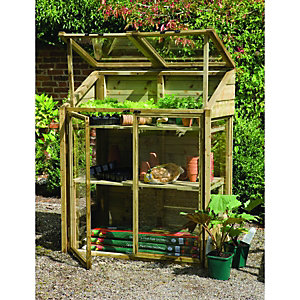 Forest Garden Small Wooden Lean-To Greenhouse - 2 x 4 ft