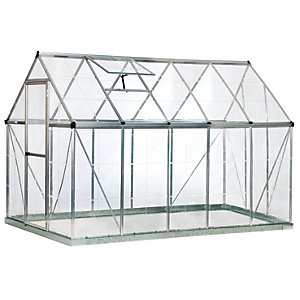 Palram 6 x 10 ft Harmony Large Silver Aluminium Apex Greenhouse with Polycarbonate Panels