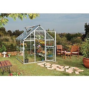 Palram 6 x 6 ft Harmony Silver Aluminium Apex Greenhouse with Clear Polycarbonate Panels