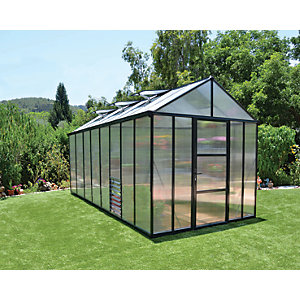 Palram 8 x 16 ft Glory Anthracite Aluminium Frame Apex Greenhouse