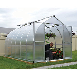Palram Bella Silver Aluminium Bell Shaped Greenhouse with Polycarbonate Panels - 8 x 12 ft