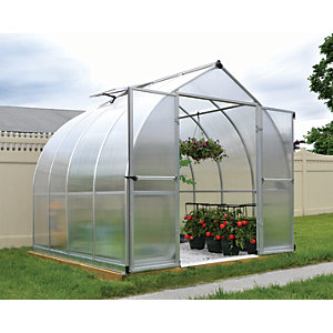 Palram Bella Silver Aluminium Bell Shaped Greenhouse with Polycarbonate Panels - 8 x 8 ft
