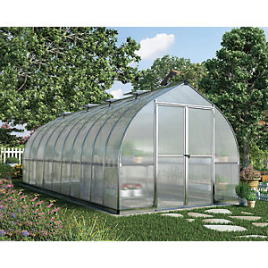 Palram Bella Silver Extra Long Aluminium Bell Shaped Greenhouse with Polycarbonate Panels - 8 x 20 ft