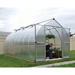 Palram Bella Silver Long Aluminium Bell Shaped Greenhouse with Polycarbonate Panels - 8 x 16 ft