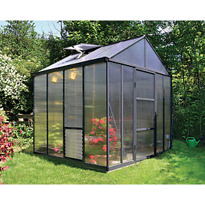 Palram Glory Anthracite Aluminium Apex Greenhouse with Polycarbonate Panels - 8 x 8 ft