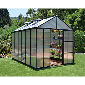 Palram Glory Anthracite Large Aluminium Apex Greenhouse with Polycarbonate Panels - 8 x 12 ft